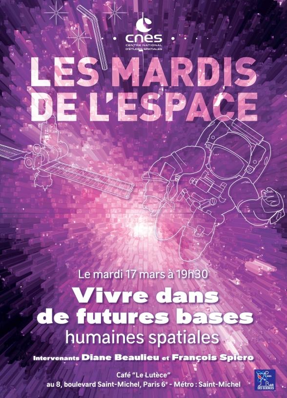 Affiche Mardi de l'Espace - bases humaines spatiales mars 2020